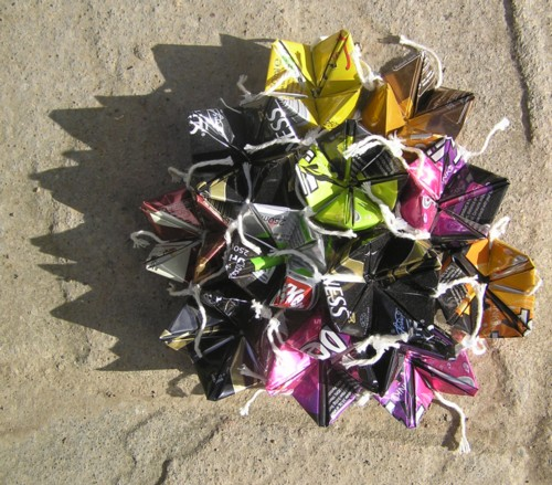 "Angela Read Artist ""Can Cluster"" faced folded aluminium drinks cans"