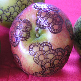 Angela Read Art, Tattoed Apple, a repeated pattern drawn onto an apple in biro