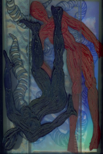 Angela Read Art, Bodies, dual figures painted onto clear plastic like enlarged microscope slides