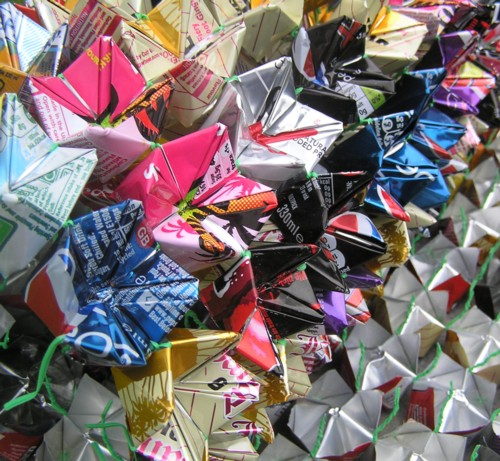 "Angela Read Artist ""Can Grid"", folded faceted drinks cans"