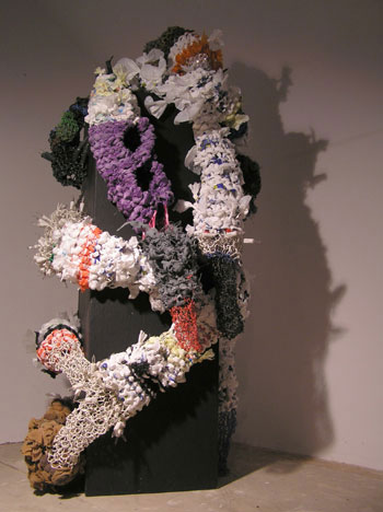 Angela Read Art PolymorphousII made from wood, knitted plastic bags and wire