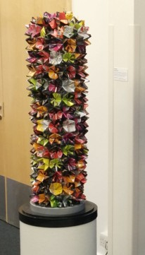 "Angela Read Art ""Column"" CALMARE Commssion, sculpture made using recycled drinks cans"